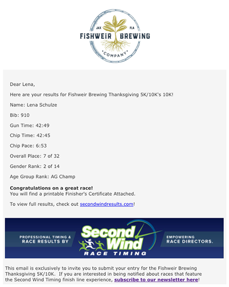 Example of Result Email